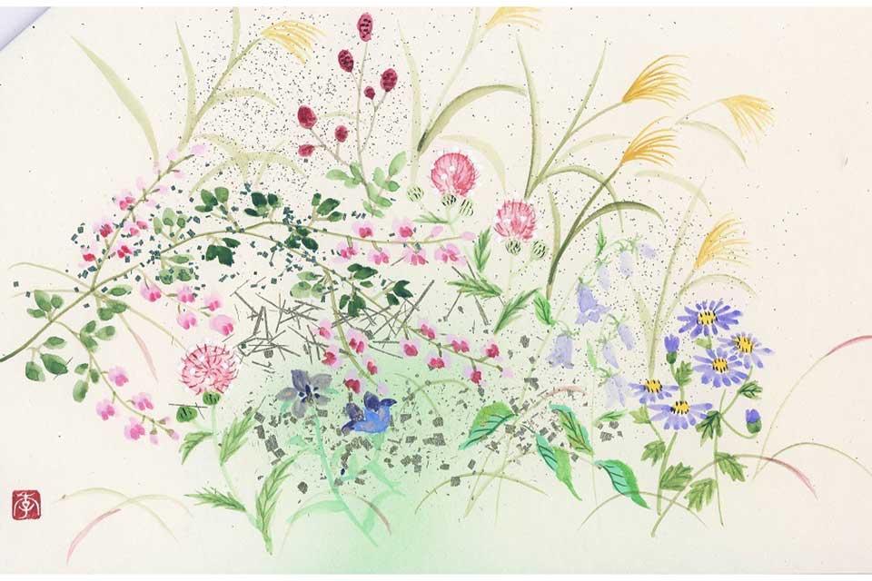 楽しい花の一筆画・30周年記念個展